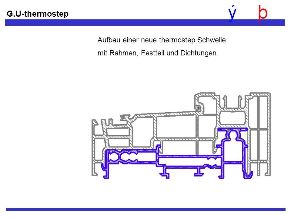 Aufbau einer neue thermostep Schwelle mit Rahmen, Festteil und Dichtungen