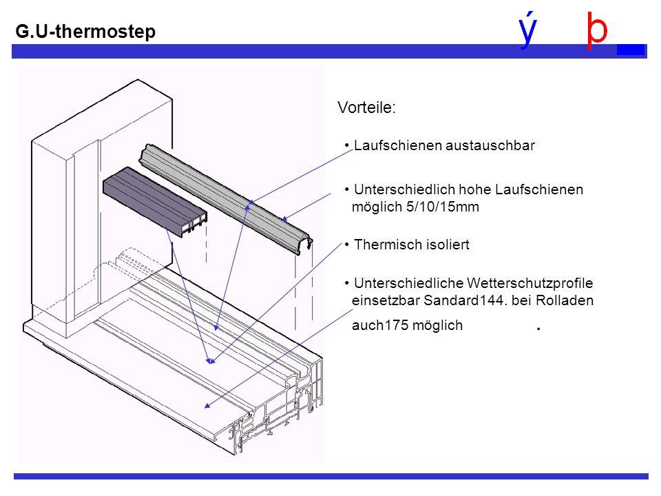 G.U-thermostep Vorteile: Laufschienen austauschbar Thermisch isoliert Unterschiedliche Wetterschutzprofile einsetzbar Sandard144. bei Rolladen auch175
