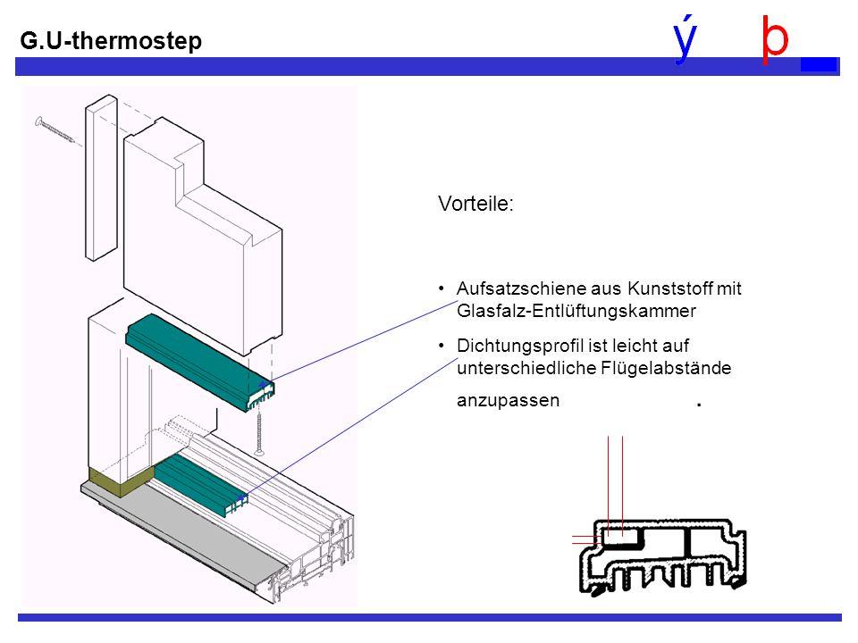 G.U-thermostep Vorteile: Aufsatzschiene aus Kunststoff mit Glasfalz-Entlüftungskammer Dichtungsprofil ist leicht auf unterschiedliche Flügelabstände a