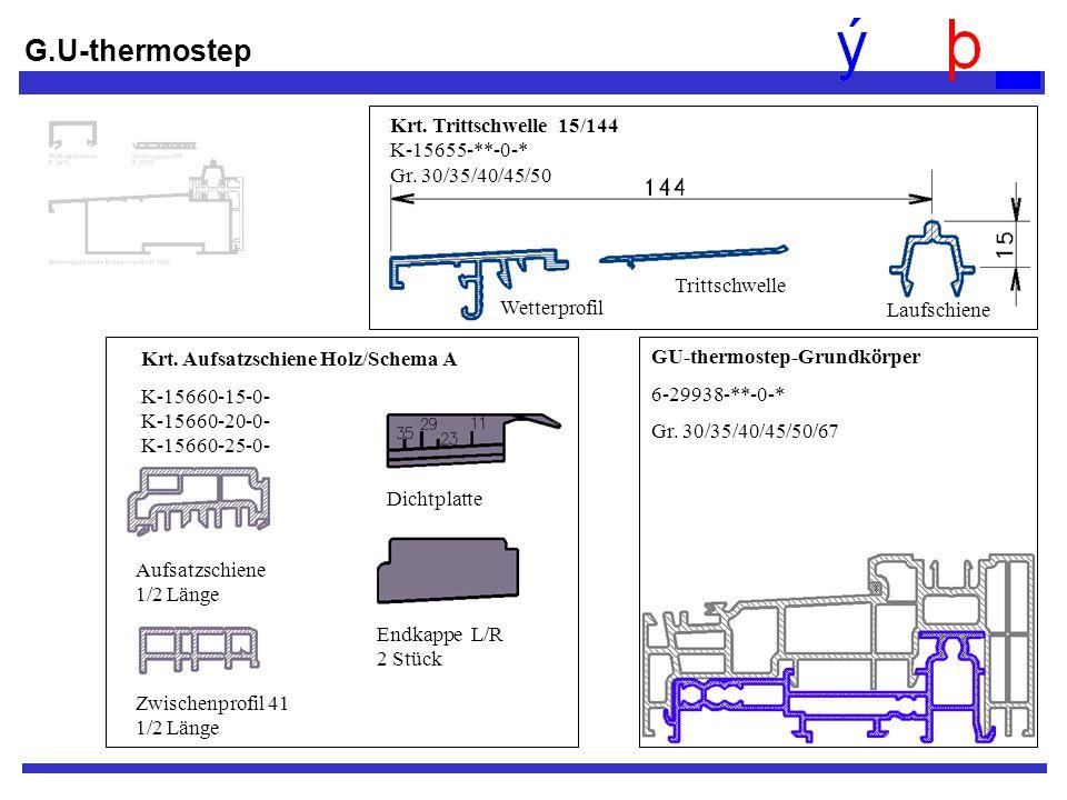 GU-thermostep-Grundkörper 6-29938-**-0-* Gr. 30/35/40/45/50/67 Krt. Aufsatzschiene Holz/Schema A K-15660-15-0- K-15660-20-0- K-15660-25-0- Aufsatzschi