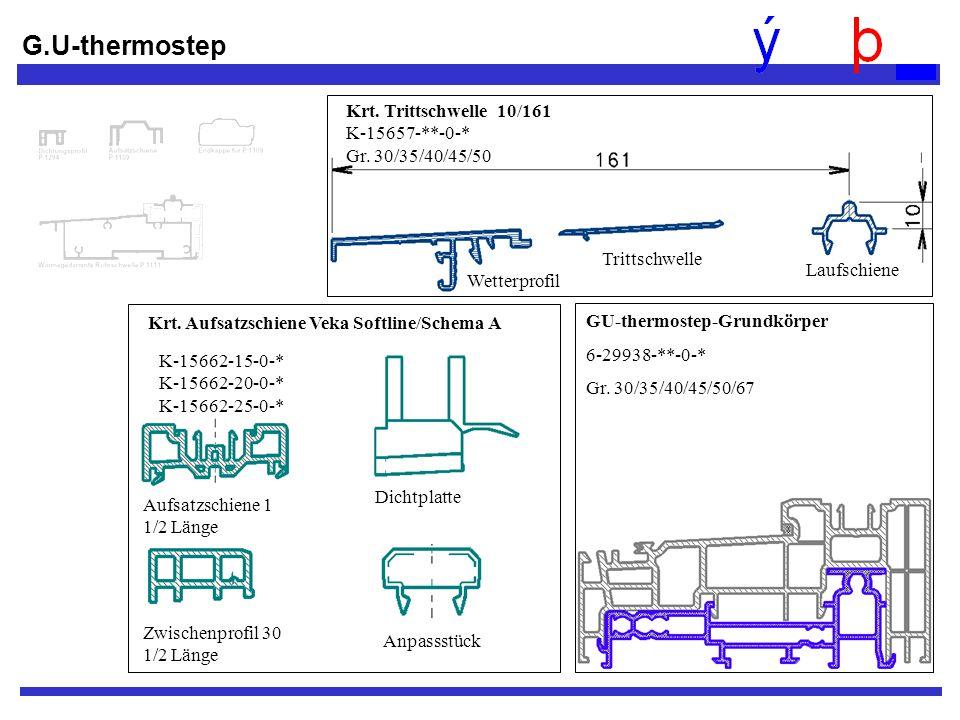 G.U-thermostep GU-thermostep-Grundkörper 6-29938-**-0-* Gr. 30/35/40/45/50/67 Trittschwelle Laufschiene Krt. Trittschwelle 10/161 K-15657-**-0-* Gr. 3