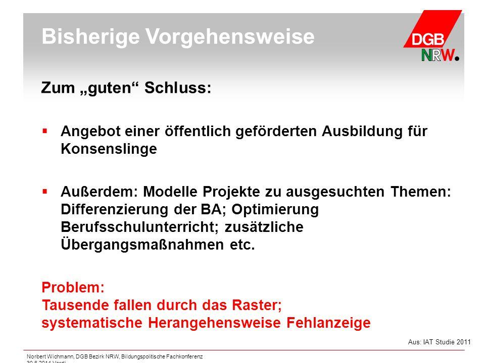 """Norbert Wichmann, DGB Bezirk NRW, Bildungspolitische Fachkonferenz 30.6.2014 Verdi Zum """"guten"""" Schluss:  Angebot einer öffentlich geförderten Ausbild"""