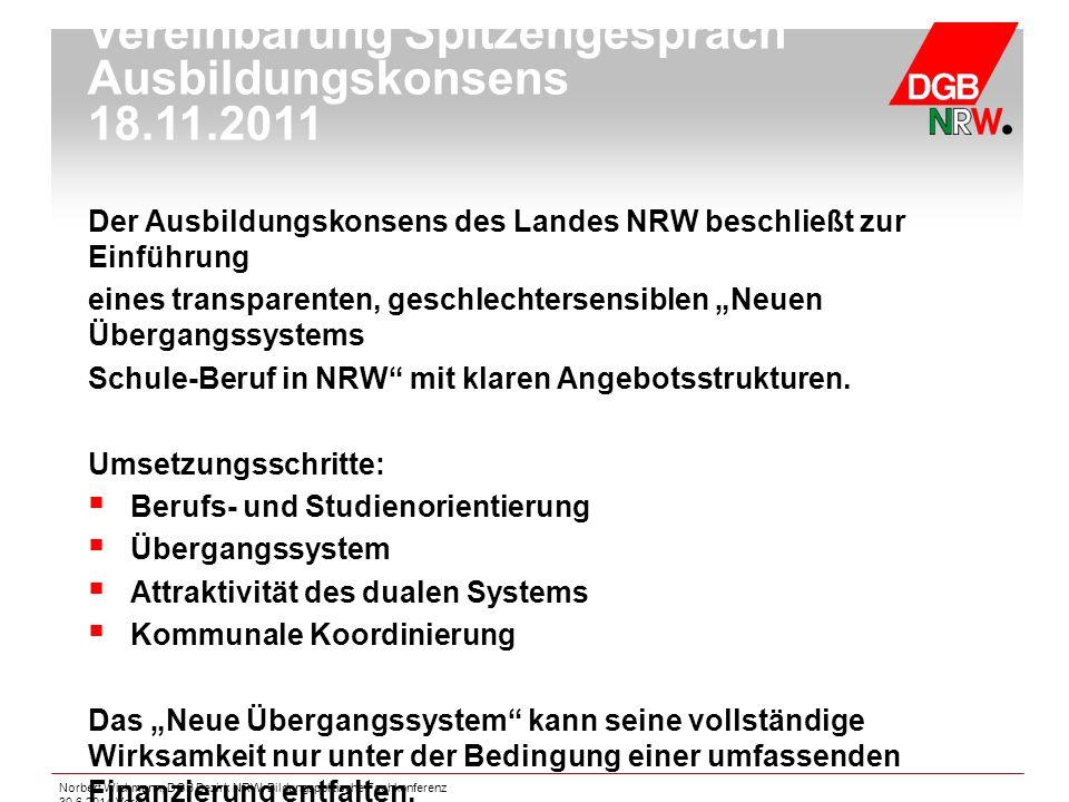 Norbert Wichmann, DGB Bezirk NRW, Bildungspolitische Fachkonferenz 30.6.2014 Verdi Der Ausbildungskonsens des Landes NRW beschließt zur Einführung ein