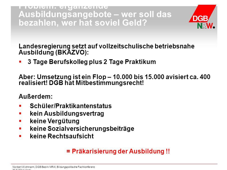 Norbert Wichmann, DGB Bezirk NRW, Bildungspolitische Fachkonferenz 30.6.2014 Verdi Problem: ergänzende Ausbildungsangebote – wer soll das bezahlen, we