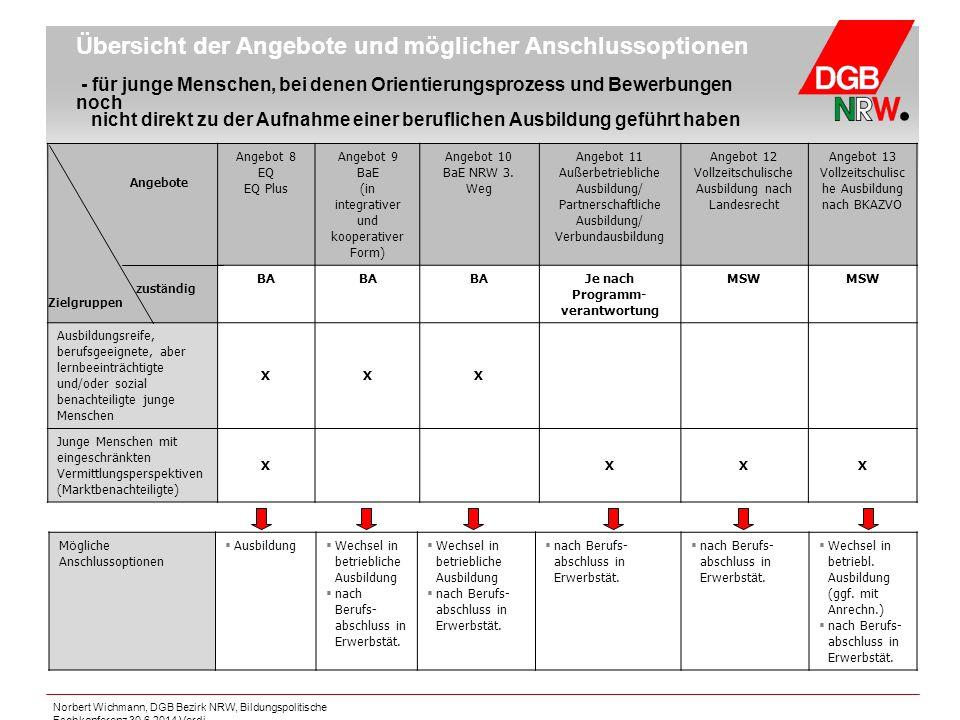 Norbert Wichmann, DGB Bezirk NRW, Bildungspolitische Fachkonferenz 30.6.2014 Verdi Übersicht der Angebote und möglicher Anschlussoptionen - für junge
