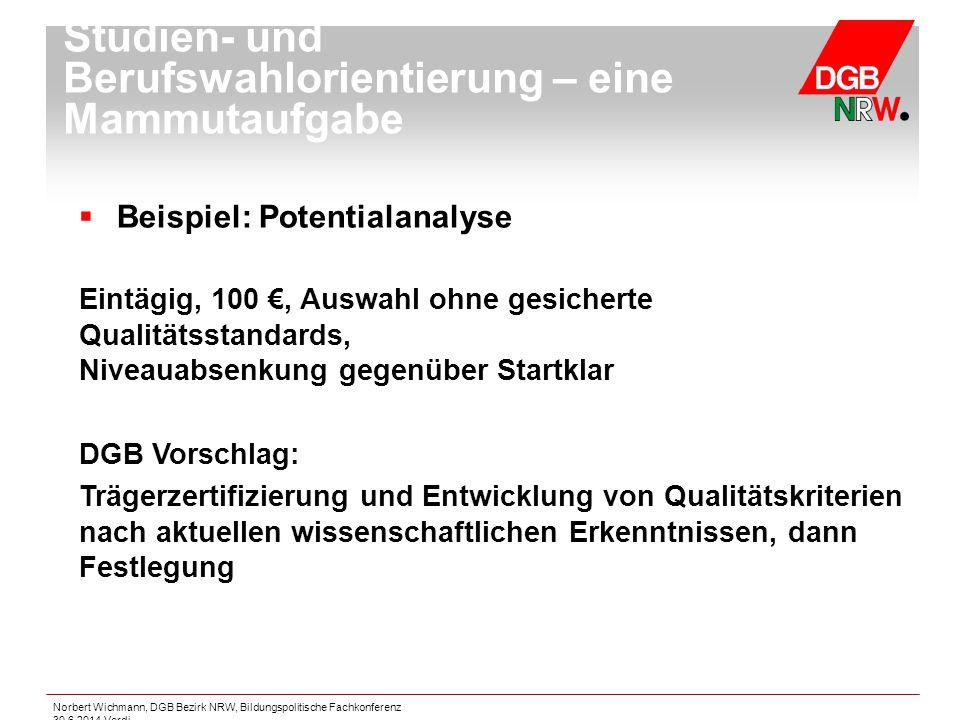 Norbert Wichmann, DGB Bezirk NRW, Bildungspolitische Fachkonferenz 30.6.2014 Verdi  Beispiel: Potentialanalyse Eintägig, 100 €, Auswahl ohne gesicher