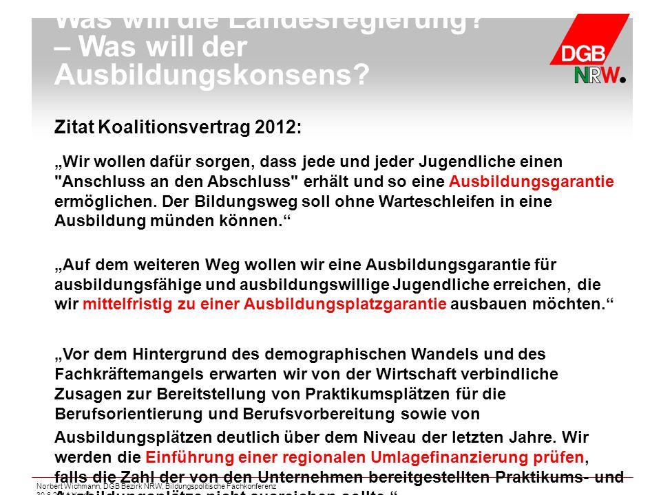 """Zitat Koalitionsvertrag 2012: """"Wir wollen dafür sorgen, dass jede und jeder Jugendliche einen"""