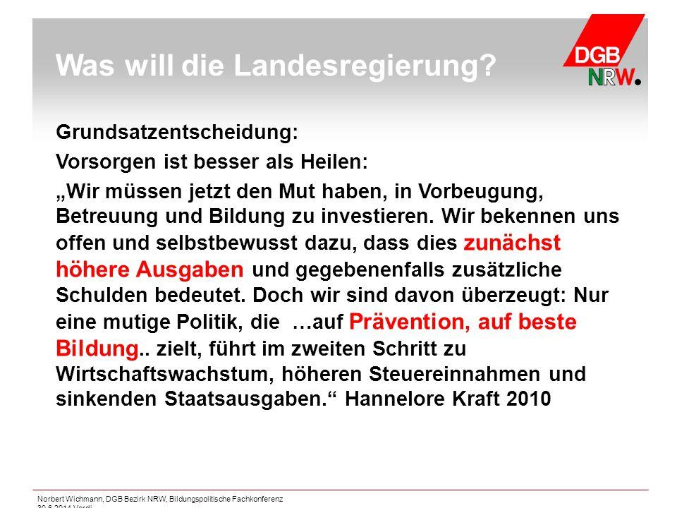 """Norbert Wichmann, DGB Bezirk NRW, Bildungspolitische Fachkonferenz 30.6.2014 Verdi Grundsatzentscheidung: Vorsorgen ist besser als Heilen: """"Wir müssen"""