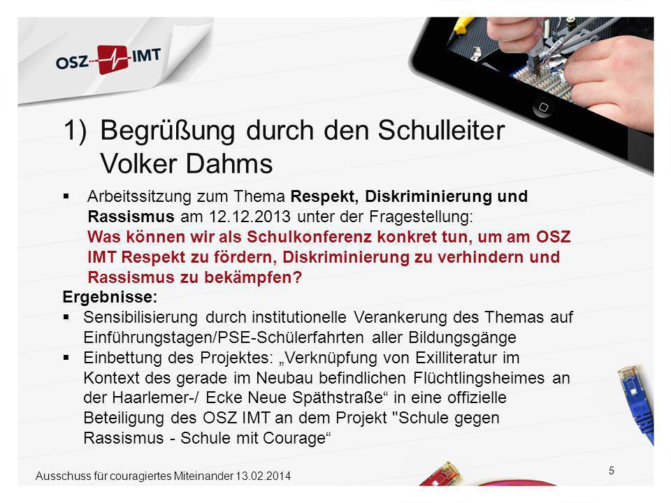 16 1.Begrüßung durch den Schulleiter Volker Dahms5´ 2.