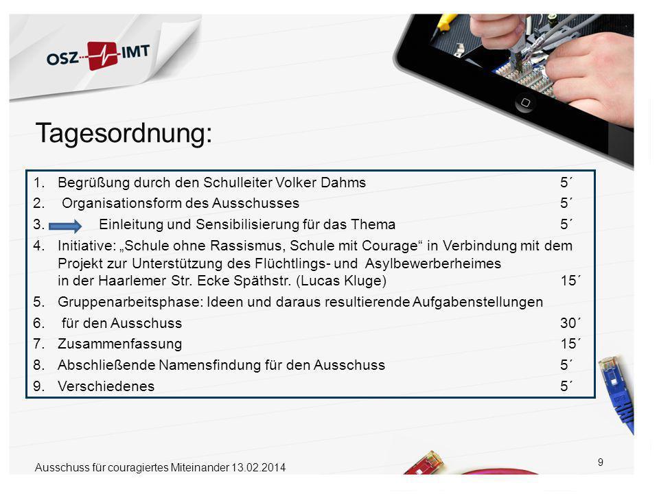 9 1.Begrüßung durch den Schulleiter Volker Dahms5´ 2.