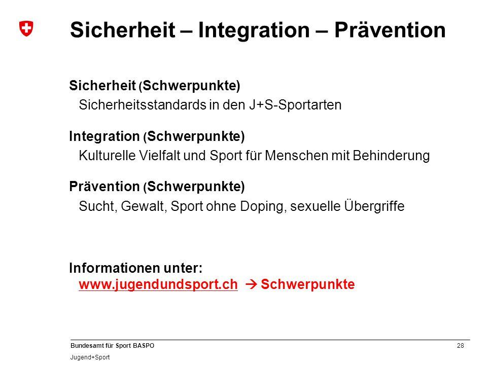 28 Bundesamt für Sport BASPO Jugend+Sport Sicherheit – Integration – Prävention Sicherheit ( Schwerpunkte) Sicherheitsstandards in den J+S-Sportarten