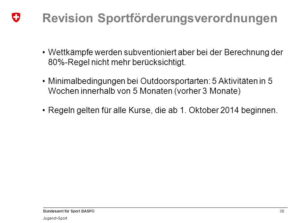 38 Bundesamt für Sport BASPO Jugend+Sport Revision Sportförderungsverordnungen Wettkämpfe werden subventioniert aber bei der Berechnung der 80%-Regel
