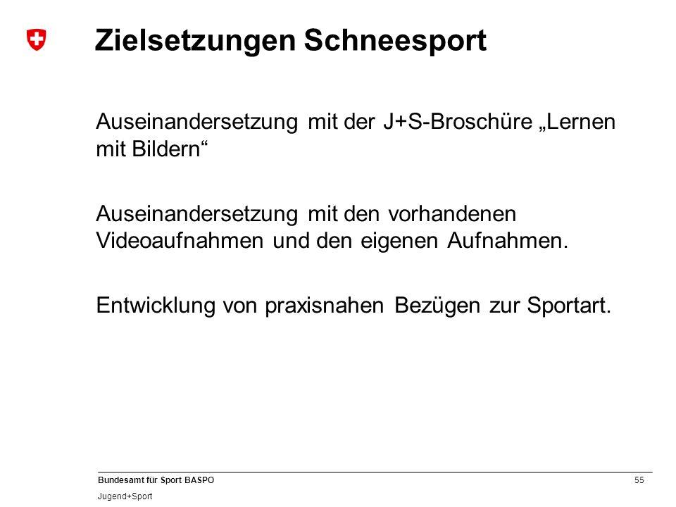 """55 Bundesamt für Sport BASPO Jugend+Sport Zielsetzungen Schneesport Auseinandersetzung mit der J+S-Broschüre """"Lernen mit Bildern"""" Auseinandersetzung m"""