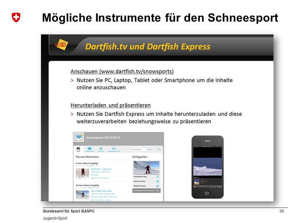56 Bundesamt für Sport BASPO Jugend+Sport Mögliche Instrumente für den Schneesport Dartfish (www.dartfish.com)www.dartfish.com