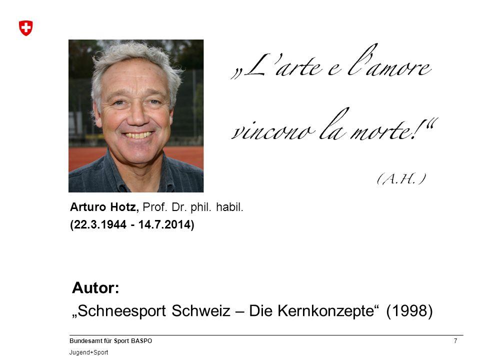 """7 Bundesamt für Sport BASPO Jugend+Sport Arturo Hotz, Prof. Dr. phil. habil. (22.3.1944 - 14.7.2014) Autor: """"Schneesport Schweiz – Die Kernkonzepte"""" ("""