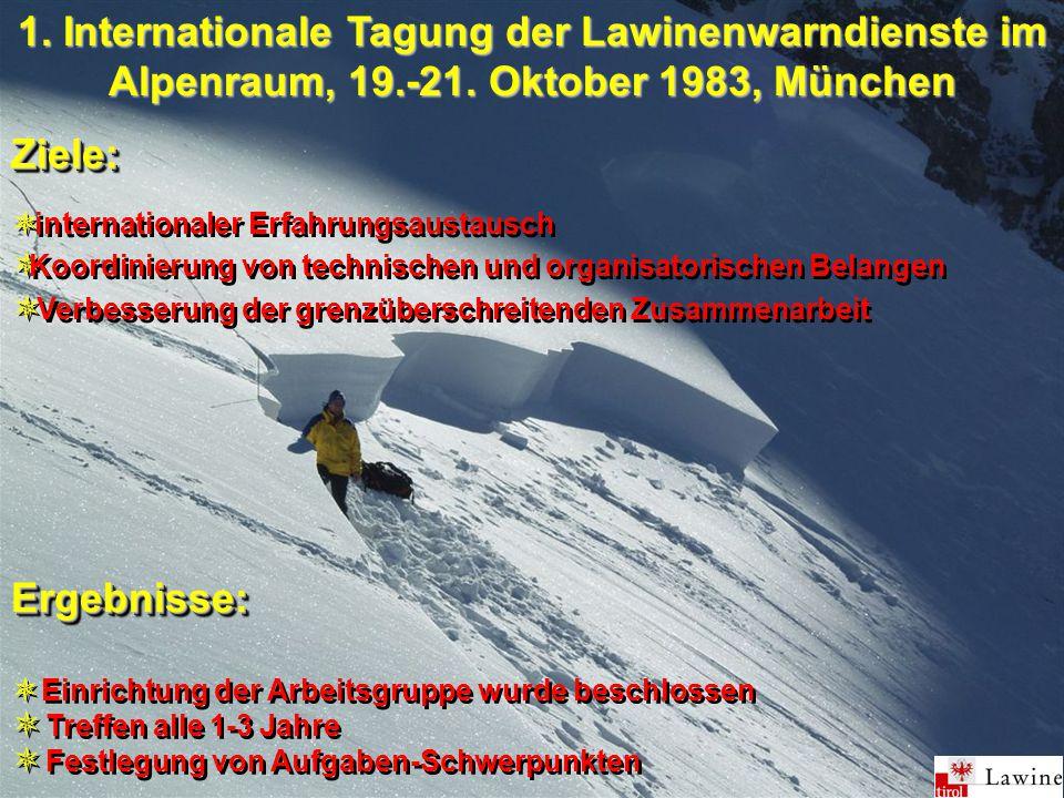 1. Internationale Tagung der Lawinenwarndienste im Alpenraum, 19.-21.