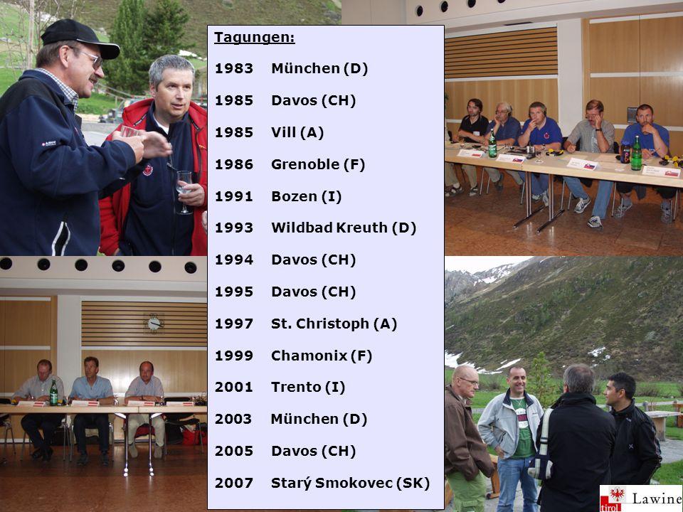 Tagungen: 1983München (D) 1985Davos (CH) 1985Vill (A) 1986Grenoble (F) 1991Bozen (I) 1993Wildbad Kreuth (D) 1994Davos (CH) 1995Davos (CH) 1997St.