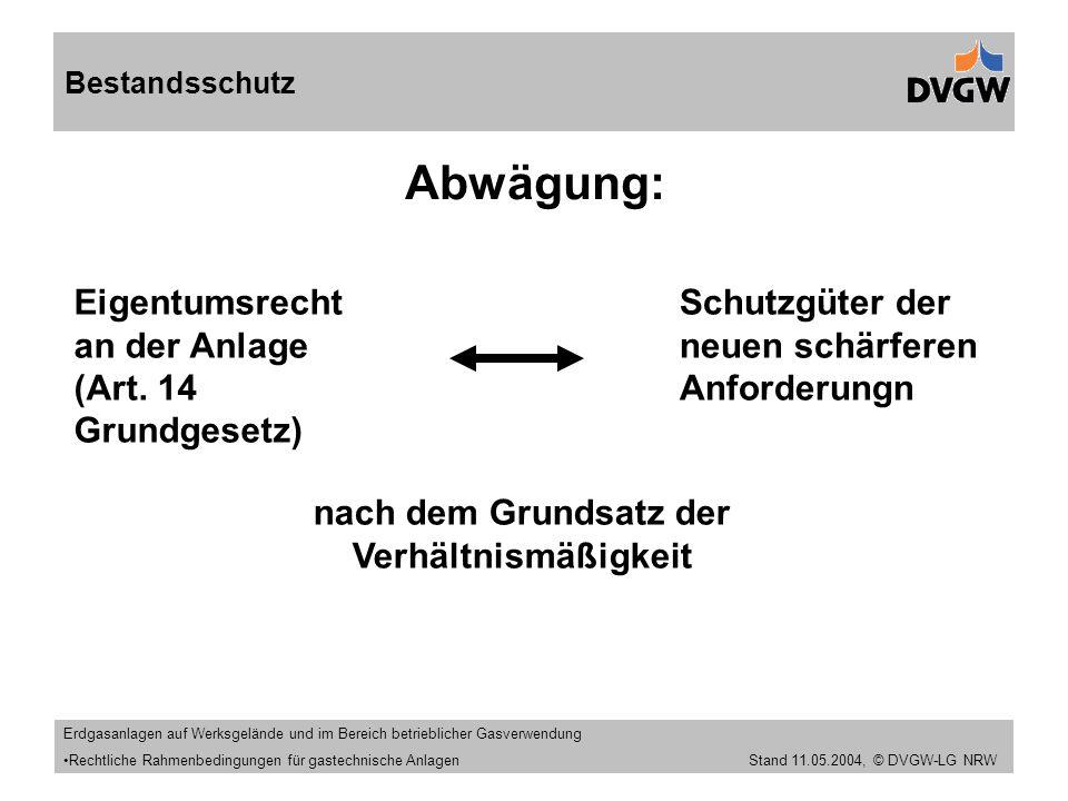 Stand 11.09.2005 Abwägung: Bestandsschutz Eigentumsrecht an der Anlage (Art.