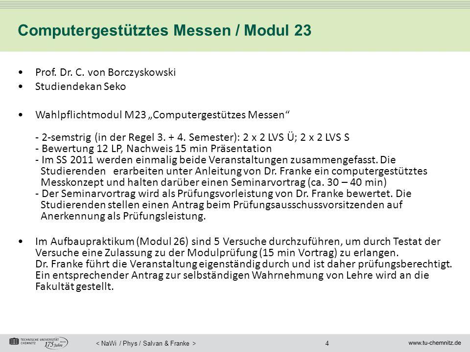 """4 Computergestütztes Messen / Modul 23 Prof. Dr. C. von Borczyskowski Studiendekan Seko Wahlpflichtmodul M23 """"Computergestützes Messen"""" - 2-semstrig ("""