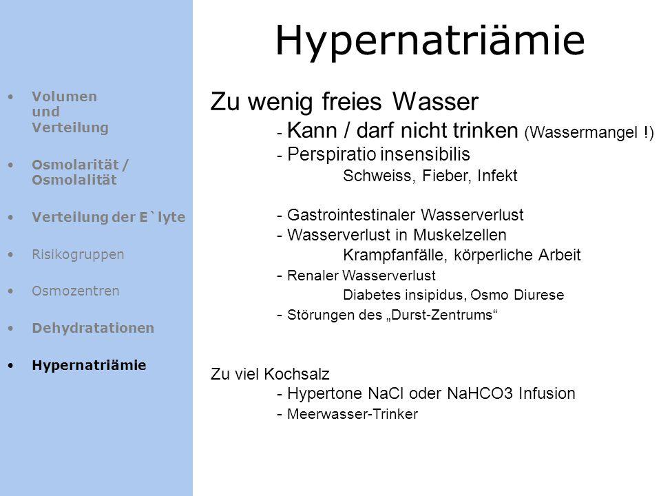 Hypernatriämie Volumen und Verteilung Osmolarität / Osmolalität Verteilung der E`lyte Risikogruppen Osmozentren Dehydratationen Hypernatriämie Zu weni