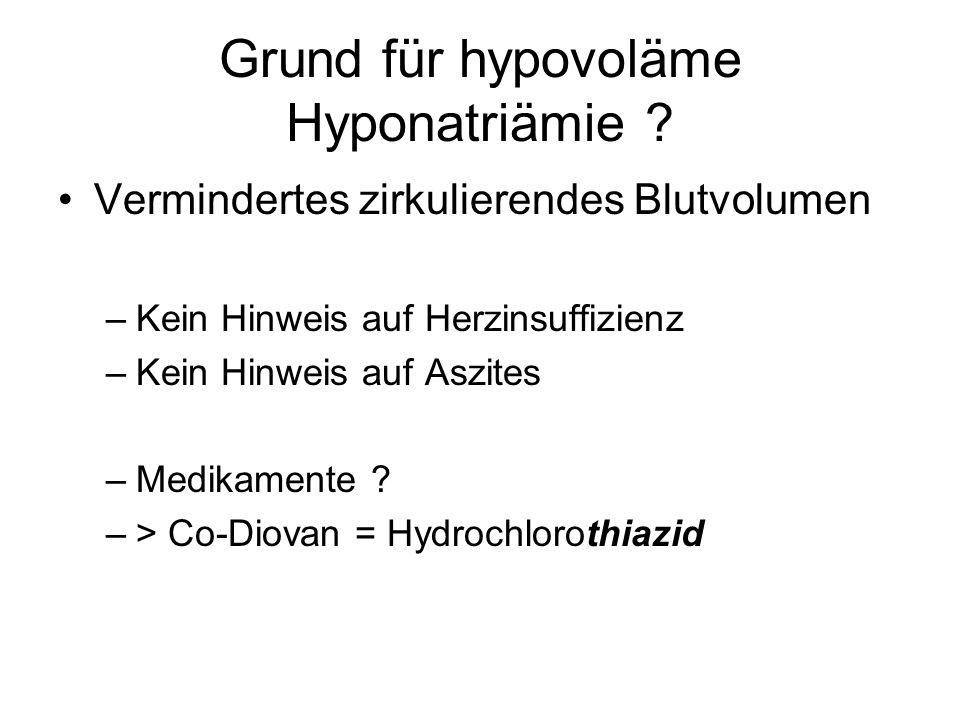 Grund für hypovoläme Hyponatriämie ? Vermindertes zirkulierendes Blutvolumen –Kein Hinweis auf Herzinsuffizienz –Kein Hinweis auf Aszites –Medikamente
