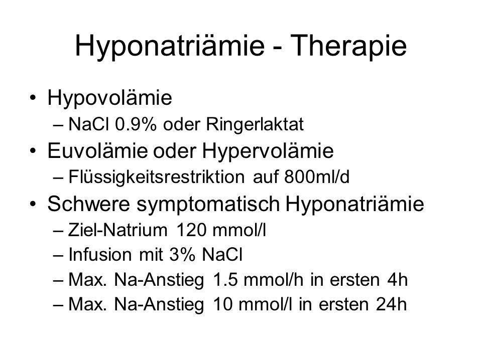 Hyponatriämie - Therapie Hypovolämie –NaCl 0.9% oder Ringerlaktat Euvolämie oder Hypervolämie –Flüssigkeitsrestriktion auf 800ml/d Schwere symptomatis