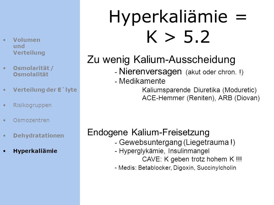 Hyperkaliämie = K > 5.2 Volumen und Verteilung Osmolarität / Osmolalität Verteilung der E`lyte Risikogruppen Osmozentren Dehydratationen Hyperkaliämie