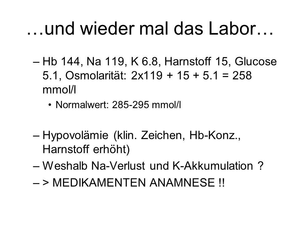 …und wieder mal das Labor… –Hb 144, Na 119, K 6.8, Harnstoff 15, Glucose 5.1, Osmolarität: 2x119 + 15 + 5.1 = 258 mmol/l Normalwert: 285-295 mmol/l –H