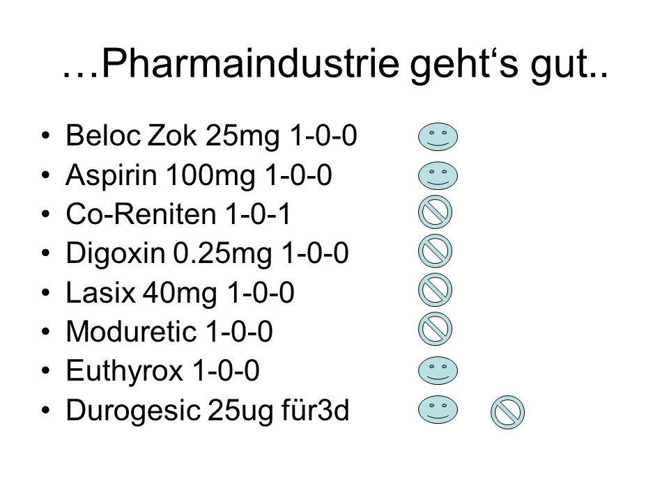 …Pharmaindustrie geht's gut.. Beloc Zok 25mg 1-0-0 Aspirin 100mg 1-0-0 Co-Reniten 1-0-1 Digoxin 0.25mg 1-0-0 Lasix 40mg 1-0-0 Moduretic 1-0-0 Euthyrox