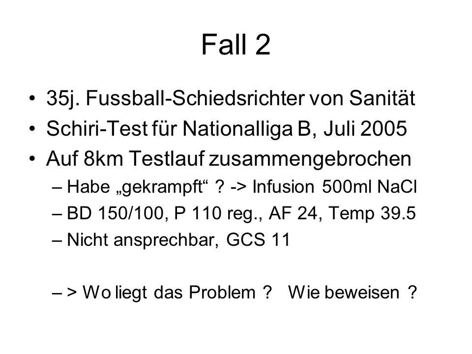 """Fall 2 35j. Fussball-Schiedsrichter von Sanität Schiri-Test für Nationalliga B, Juli 2005 Auf 8km Testlauf zusammengebrochen –Habe """"gekrampft"""" ? -> In"""