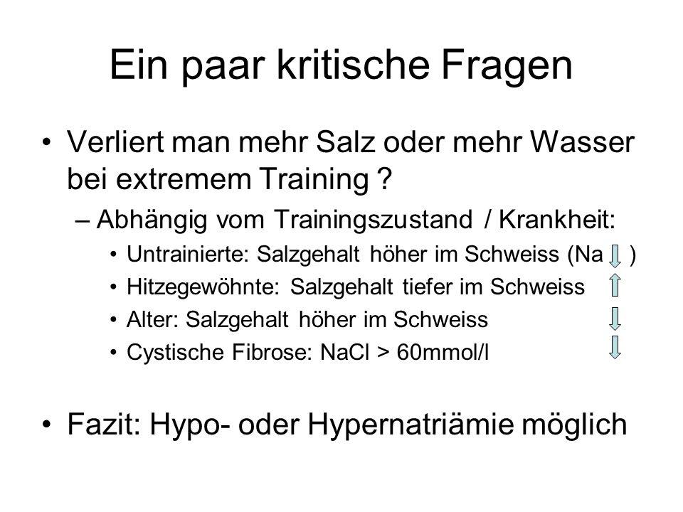 Ein paar kritische Fragen Verliert man mehr Salz oder mehr Wasser bei extremem Training ? –Abhängig vom Trainingszustand / Krankheit: Untrainierte: Sa