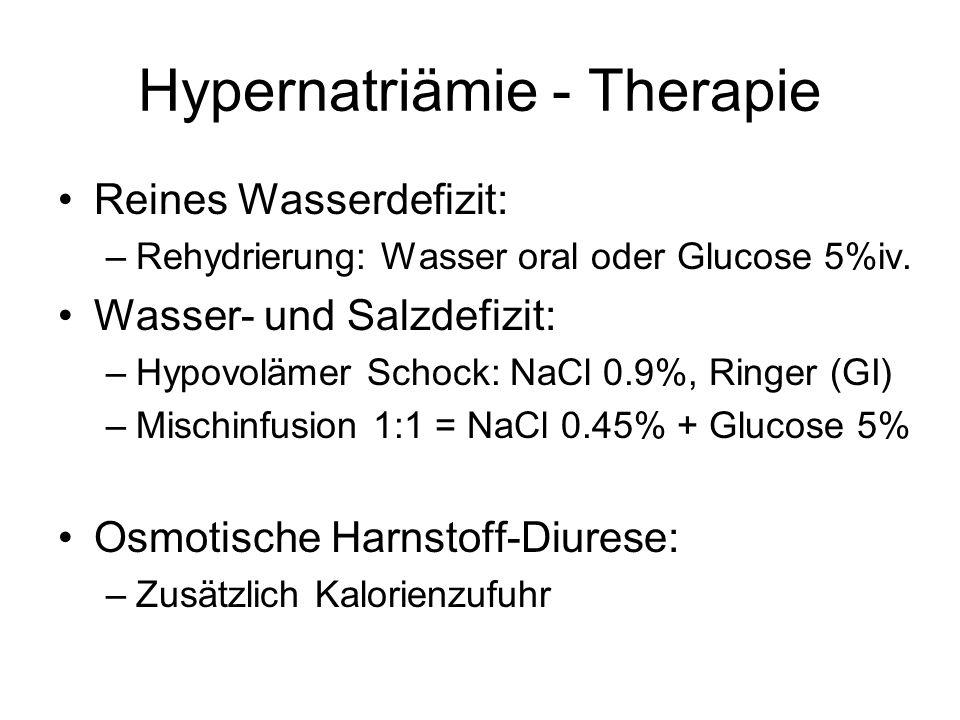 Hypernatriämie - Therapie Abschätzen des Wasserdefizits: –Ziel Natrium 140 mmol/l –Wasserdefizit = 0.5 x kgKG x ((Na / 140)-1) 0.5 x 70kg x ((159/140)-1) = 4.75 LITER !!.