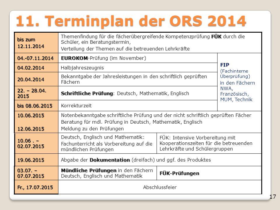 17 11. Terminplan der ORS 2014 bis zum 12.11.2014 FÜK Themenfindung für die fächerübergreifende Kompetenzprüfung FÜK durch die Schüler, ein Beratungst
