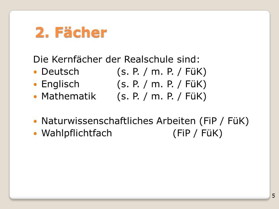 5 2. Fächer Die Kernfächer der Realschule sind: Deutsch(s. P. / m. P. / FüK) Englisch (s. P. / m. P. / FüK) Mathematik (s. P. / m. P. / FüK) Naturwiss