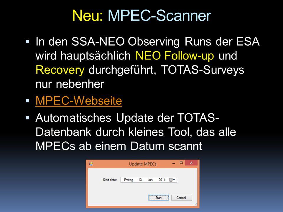 Neu: MPEC-Scanner  In den SSA-NEO Observing Runs der ESA wird hauptsächlich NEO Follow-up und Recovery durchgeführt, TOTAS-Surveys nur nebenher  MPE