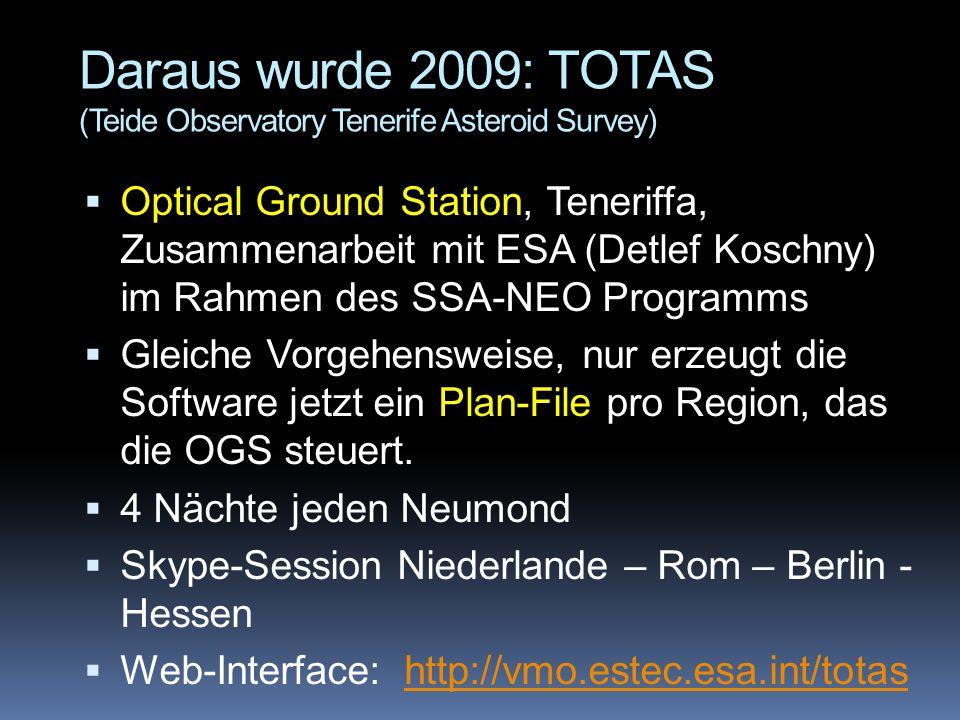 Daraus wurde 2009: TOTAS (Teide Observatory Tenerife Asteroid Survey)  Optical Ground Station, Teneriffa, Zusammenarbeit mit ESA (Detlef Koschny) im