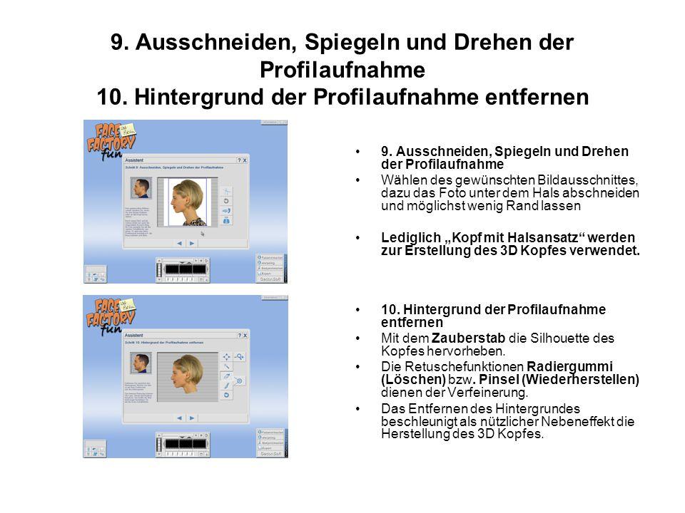 9. Ausschneiden, Spiegeln und Drehen der Profilaufnahme 10.