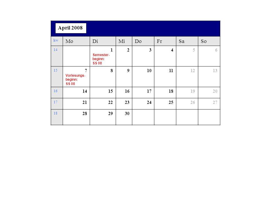 kw MoDiMiDoFrSaSo 14 1 Semester- beginn: SS 08 23456 15 7 Vorlesungs- beginn: SS 08 8910111213 16 14151617181920 17 21222324252627 18 282930 April 2008