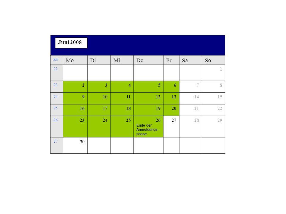 kw MoDiMiDoFrSaSo 22 1 23 2345678 24 9101112131415 25 16171819202122 26 23242526 Ende der Anmeldungs- phase 272829 27 30 Juni 2008
