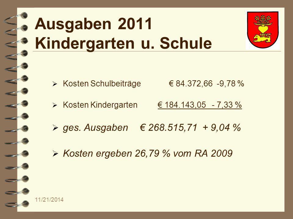 11/21/2014 Ausgaben 2011 Kindergarten u.