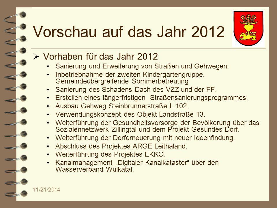 11/21/2014 Vorschau auf das Jahr 2012  Vorhaben für das Jahr 2012 Sanierung und Erweiterung von Straßen und Gehwegen.