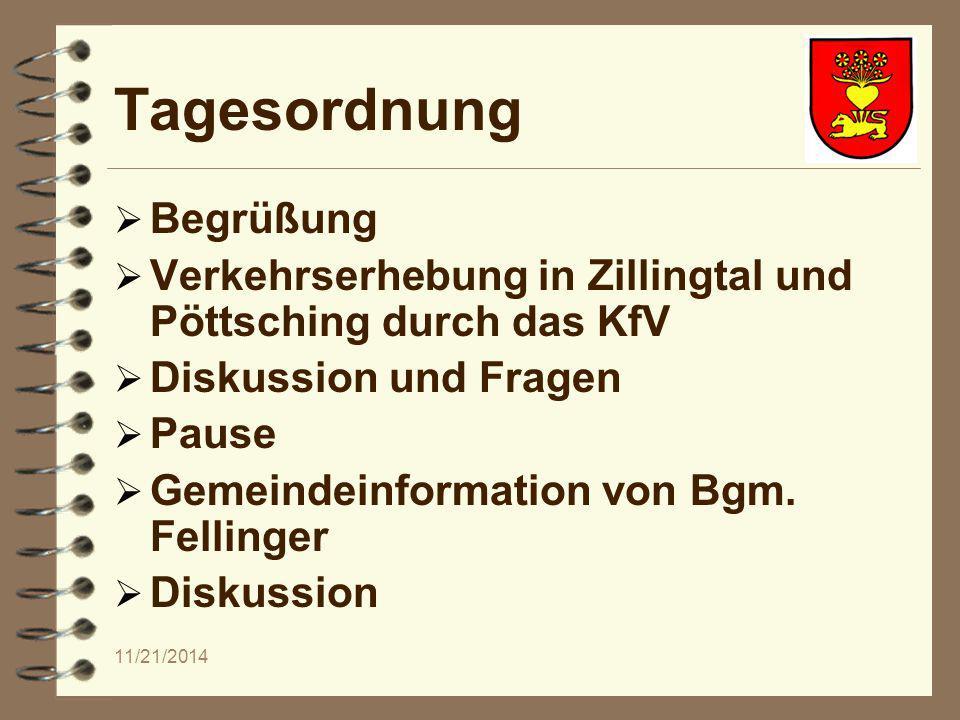 11/21/2014 Tagesordnung  Begrüßung  Verkehrserhebung in Zillingtal und Pöttsching durch das KfV  Diskussion und Fragen  Pause  Gemeindeinformation von Bgm.