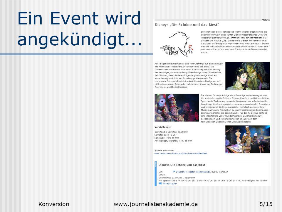 Konversionwww.journalistenakademie.de9/15 Einfache Fragestellung...