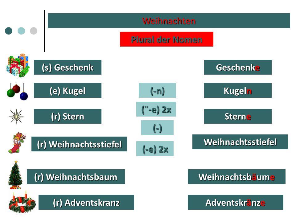 Weihnachten (s) Geschenk (e) Kugel (r) Weihnachtsbaum (r) Stern (r) Weihnachtsstiefel (r) Adventskranz Plural der Nomen (-e) 2x (-n) (-) (¨-e) 2x Gesc