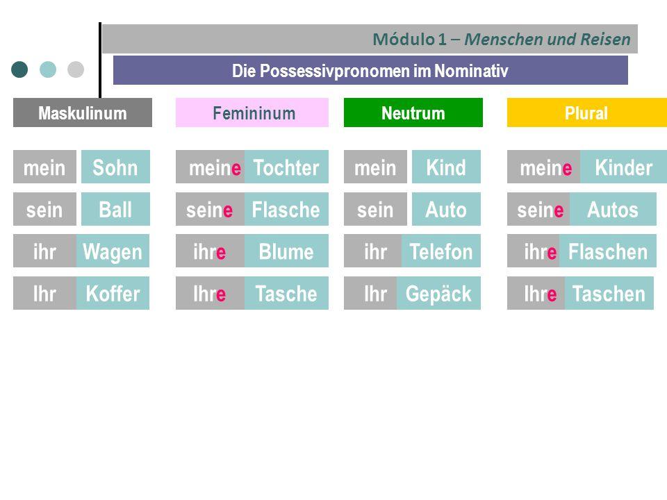 Módulo 1 – Menschen und Reisen Die Possessivpronomen im Nominativ Maskulinum FemininumNeutrumPlural meinSohnmeinKindmeineTochtermeineKinder seinBallse