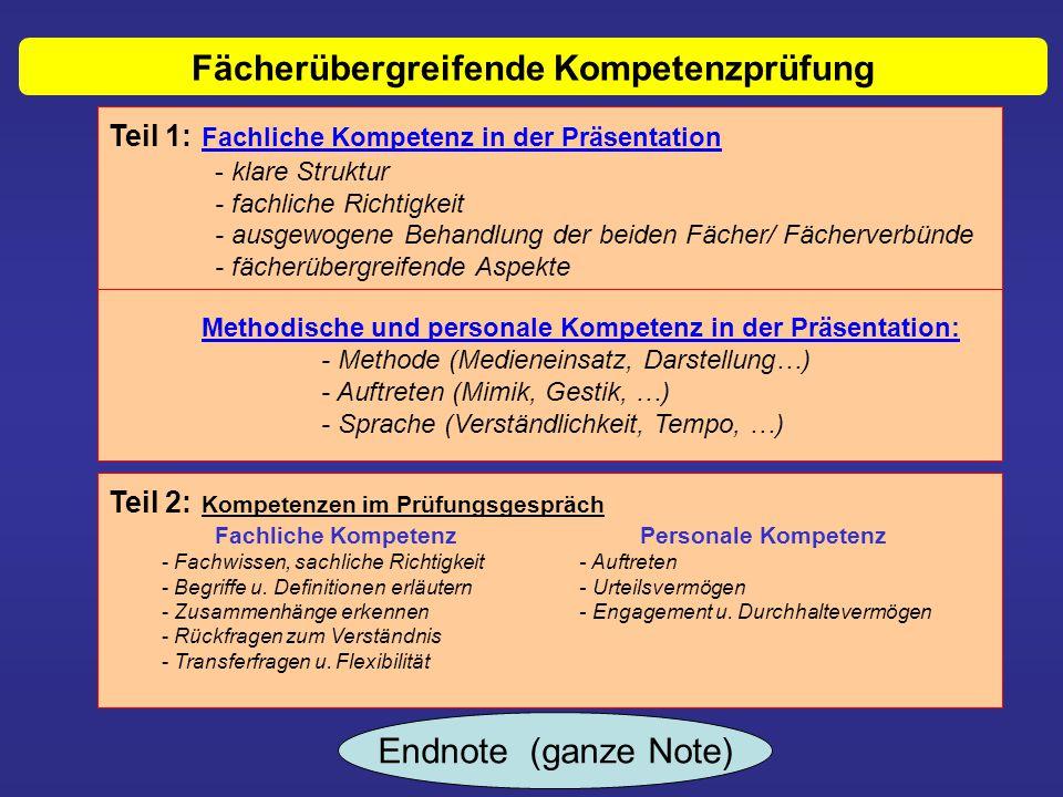 Teil 1: Fachliche Kompetenz in der Präsentation - klare Struktur - fachliche Richtigkeit - ausgewogene Behandlung der beiden Fächer/ Fächerverbünde -