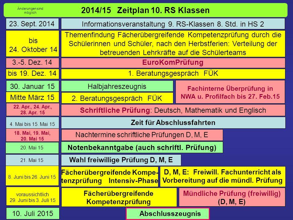 2014/15 Zeitplan 10. RS Klassen Themenfindung Fächerübergreifende Kompetenzprüfung durch die Schülerinnen und Schüler, nach den Herbstferien: Verteilu