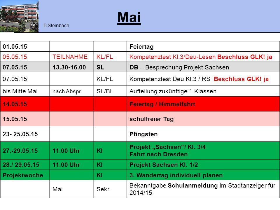 Mai 01.05.15Feiertag 05.05.15TEILNAHMEKL/FLKompetenztest Kl.3/Deu-Lesen Beschluss GLK! ja 07.05.1513.30-16.00SLDB – Besprechung Projekt Sachsen 07.05.