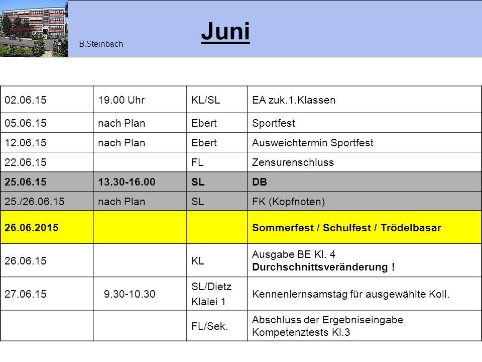 Juni 02.06.1519.00 UhrKL/SLEA zuk.1.Klassen 05.06.15nach PlanEbertSportfest 12.06.15nach PlanEbertAusweichtermin Sportfest 22.06.15FLZensurenschluss 2