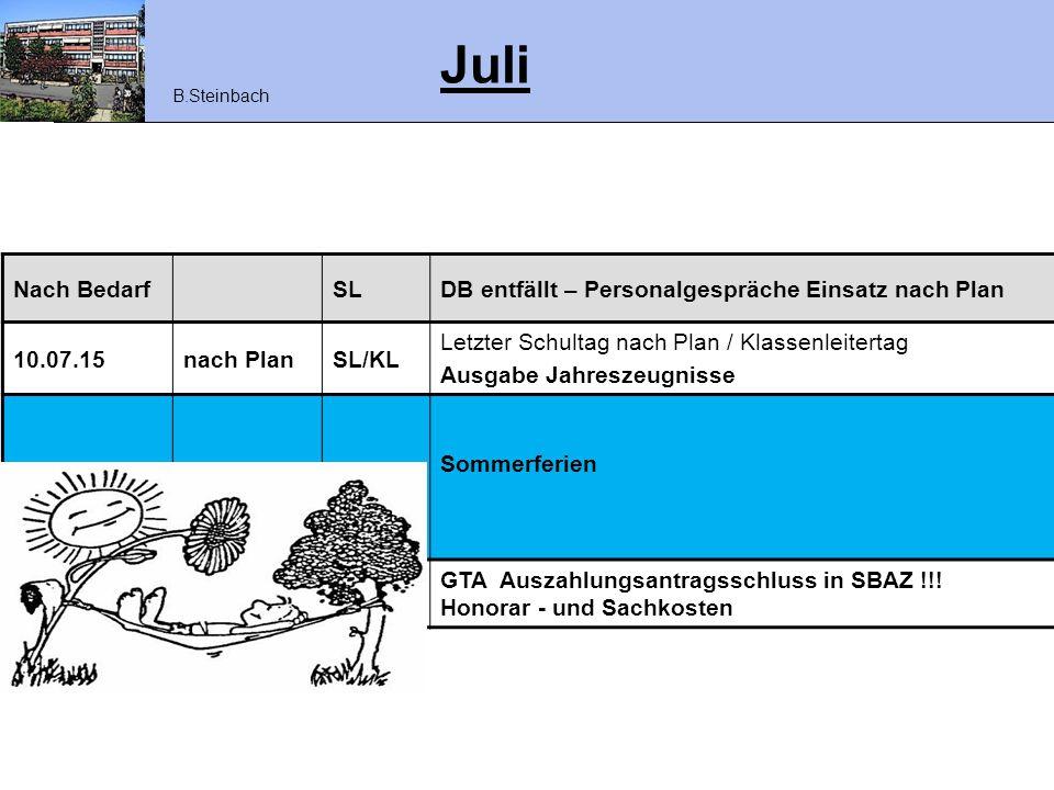 Juli Nach BedarfSLDB entfällt – Personalgespräche Einsatz nach Plan 10.07.15nach PlanSL/KL Letzter Schultag nach Plan / Klassenleitertag Ausgabe Jahre
